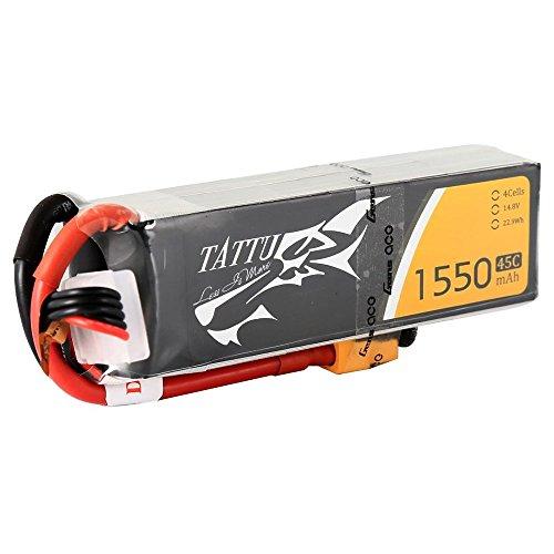 Tattu LiPo Battery Pack 1550mAh 148V 45C 4S with XT60 Plug for RC Car Boat Truck Heli Airplane UAV Drones FPV
