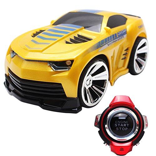 Delight eShop R-101 Mini RC Car 24G 6CH Voice Command Car Smart Watch Remote Control Yellow