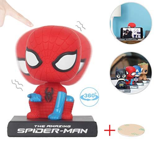 Coolgu Superhero Marvel-Hero Cartoon Cute Model Collectible Toy Car Decoration Mobile Phone Holder DashboardOffice Home AccessoriesHoliday DecorationBobblehead Doll Kids Gift Spider-Man
