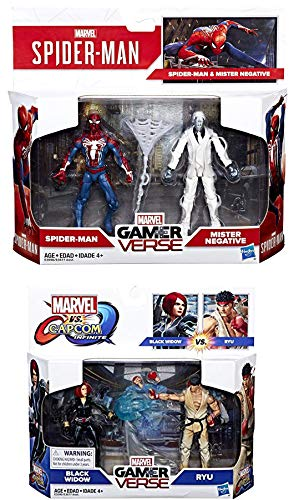 Double Super Marvel Gamer Verse Spider-Man Figure Pack Mister Negative  Ryu VS Black Widow Hero Bundle Set