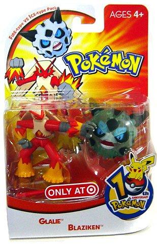 Pokemon Mini Action Figure Set Fire Type vs Ice Type Pack with Glalie Blaziken