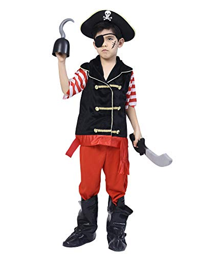 IKALI Pirate Costume for Boys Deluxe Buccaneer Outfit with Captain Hat 5pcs Set 9-10Y