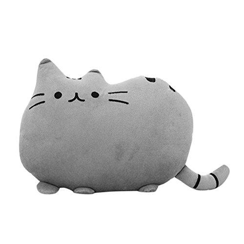 HS Cute Cat Shaped Pillow Plush Stuffed Toys Sofa Throw Pillow Cushion Gray