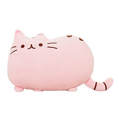 HS Cute Cat Shaped Pillow Plush Stuffed Toys Sofa Throw Pillow Cushion Pink