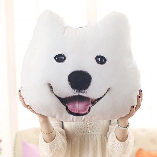 Mkono Decorative Throw Pillow 3D Effect Akita Husky Doge Dog Head Cartoon Sofa Cosplay Throw Pillow Car Cushion Nap pillow seat cushion Lovely Cate Stuffed ToysWhite Samoyed Medium