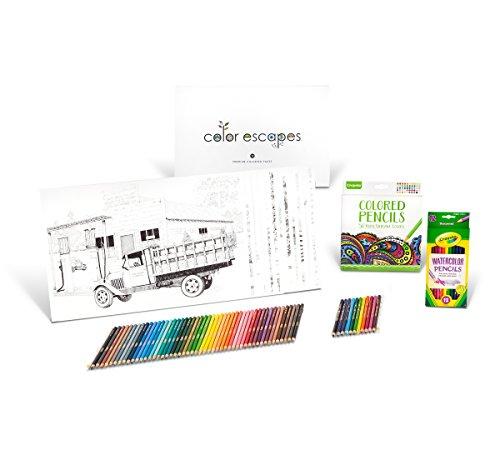 Crayola Color Escapes Coloring Pages Pencil Kit Americana Edition 12 Premium Pages 12 Watercolor Pencils 50 Colored Pencils Adult Coloring Art Activity Set