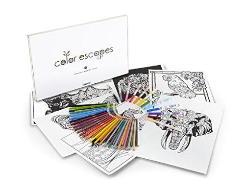 Crayola Color Escapes Coloring Pages Pencil Kit Nature Edition 12 Premium Pages 12 Fine Line Markers 50 Colored Pencils Adult Coloring Art Activity Set