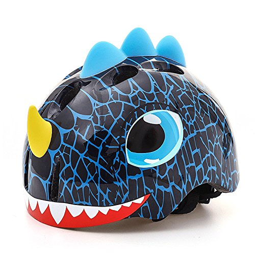 Basecamp Kids Bike Helmet Children Skating Riding a Scooter Helmet Boys and Girls Safe Protective Helmets Crocodile Helmet Kids Scooter Helmet Tyrannosaurus Blue