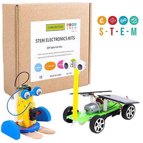 CCinaCiao Robotic Science Kits DC Motors Electronic Assembly Kit DIY Solar Car Kits STEM Kits for Boys and Girls Kids Science Experiment Kits2 Kits