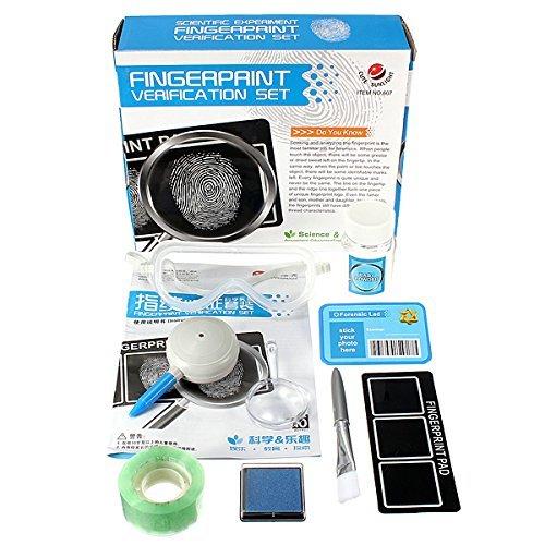 Fingerprint Set toy - SODIALRFingerprint Set Detective experiments toy with stamp pads Magnifier Brush