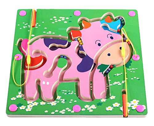 Double-Sided Wooden Kids Toy Maze Puzzle Educational Maze Game Ludo Cow