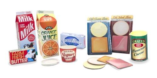 Melissa Doug Fridge Groceries Play Food Cartons 8 pcs - Toy Kitchen Accessories