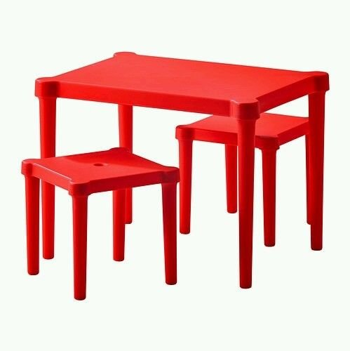 Generic QY-US4-16Jun6-14783780 Game Play Study en Tabl Set 3 PC Red Chairs Childre Children Table PC Red Room Furniture rniture Activity Kids ds Room Furniture