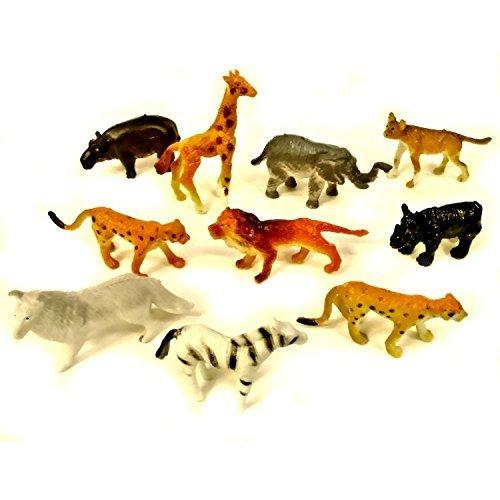 Blue Frog Toys 10 Assorted Mini Plastic Jungle Animal Toys