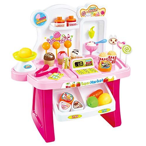 Vkarh Kids Mini Market Cash Register Toy Pretend Play Shopping Cashier Checkout Toy Set B