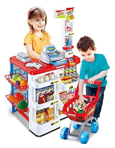Vinsani Kids Role Play Supermarket Set Superstore Shop Toys Children Supermarket Lights and SoundRed by Vinsani