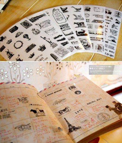 6 Daily Scrapbook Deco Craft Stickers Travel Eiffel Tower Black&white Transparent