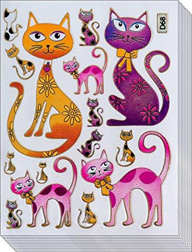 Jazzstick 70 Glitter Lovely Cat Pink Yellow Scrapbook Sticker for Kids Value Pack 10 sheet 09A22