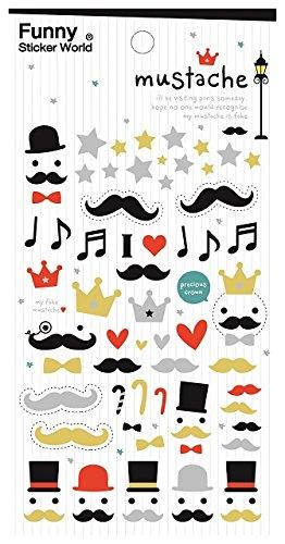 Mustache Glitter Sticker 2 Sheets - 40429