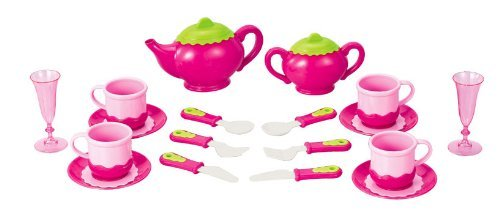 Deluxe Pink Tea Set for Kids with Tea Pots Cups Dishes and Kitchen Utensils 18 pcs Model NF2852