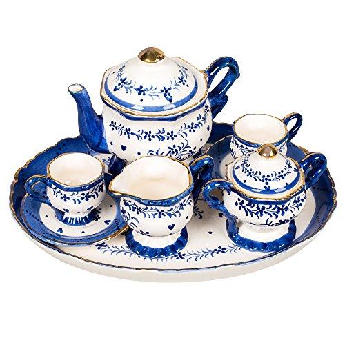 Blue and White Floral Design White Porcelain Childrens Tea Party Set