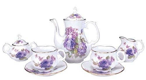 Childrens 9 Piece Tea Party Set for 2 Purple Rose