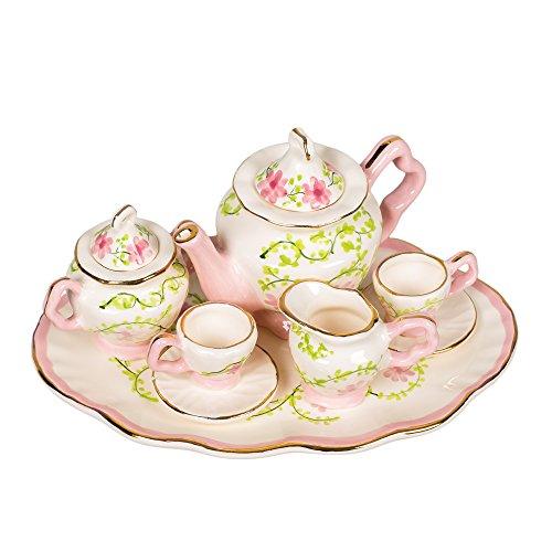Pink and White Green Vine Design White Porcelain Childrens Tea Party Set