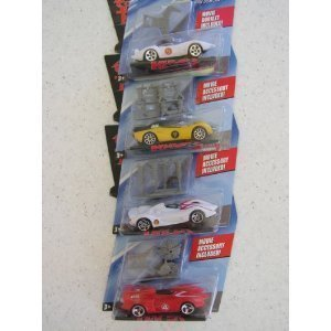 Hot Wheels Speed Racer 4-Pack Mach 5 Yellow Racer X Mach 6 and the Super Hard to Find Red Mach 4 Each car comes with a snap on battle accessory that may vary on each packaged car Also included is a mini poster featuring other speed racer cars Mattel