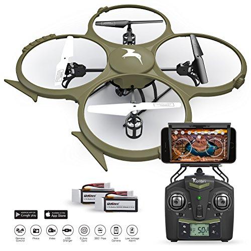 Kolibri U818A Wi-Fi Discovery Delta-Recon Quadcopter Drone Tactical Edition with 720p HD Camera Military Matte Drab Green