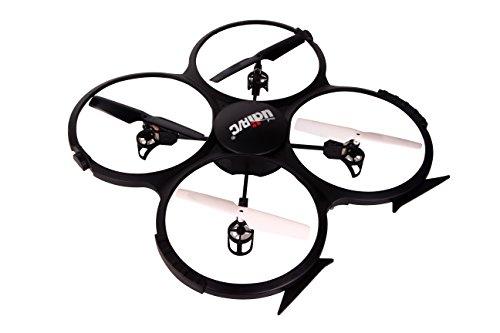 ToyThrill UDI U818A 24GHz Headless Mode HD Camera Remote Control Quadcopter Drone UAV Toy with 3 Batteries Black