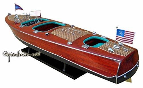 Gia Nhien SB0001P-70 Chris Craft Triple Cockpit Wooden Model Speed Boat