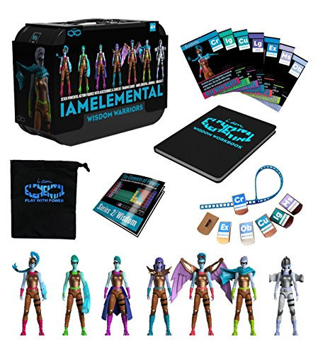 IAmElemental Series 2Wisdom Complete Set of 7 Female Action Figures in Lunch Box Carry Case
