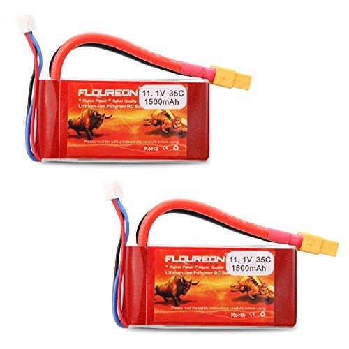Floureon 2 Packs 3S 111V 1500mAh 35C RC Lipo Battery with XT60 Plug for RC Car Skylark m4-fpv250 Mini Shredder 200 Qav250 Vortex Drone and FPV 291 x 146 x 108 Inch