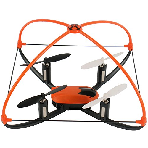 XT FLYER Self-Righting 4CH RC Quadcopter 6 Axis Helicopter Toys Gyro 360 Degree Eversion 24GHz Remote Control Drone with LED Flashing Lights Blade Protector-OrangeBlack