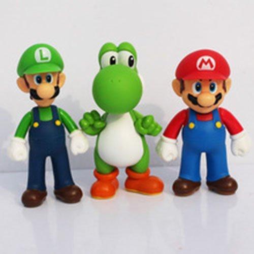 3pcsset Super Mario Bros Luigi Mario Yoshi PVC Action Figures toy 13cm