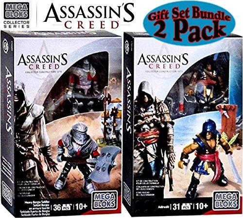 Mega Bloks Assassins Creed Adewale Heavy Borgia Soldier Guard Collectible Character Figures Gift Set Bundle - 2 Pack
