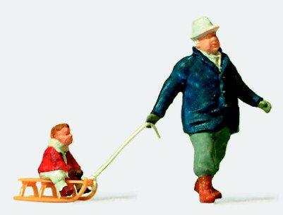 MAN TOWING CHILD ON SLED - PREISER HO SCALE MODEL TRAIN FIGURES 28078