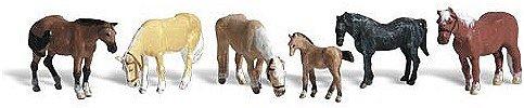 Woodland Scenics HO Scale Scenic Accents FiguresAnimal Set Farm Horses 6