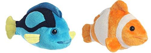 Bundle of 2 Aurora 7 Stuffed Beanbag Animals - Blue Tang Fish Clownfish