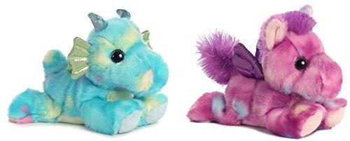 Bundle of 2 Aurora 7 Stuffed Beanbag Animals - Sprinkles Dragon Tutti Frutti Pegasus