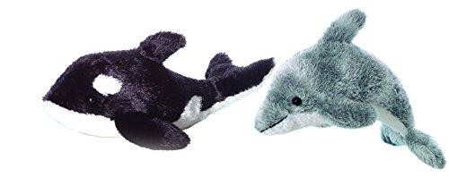 Bundle of 2 Aurora 9 Stuffed Beanbag Animals - Dorsey Dolphin Orca Whale