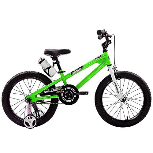 RoyalBaby BMX Freestyle Kids Bike Boys Bikes and Girls Bikes with training wheels Gifts for children 18 inch wheels Green