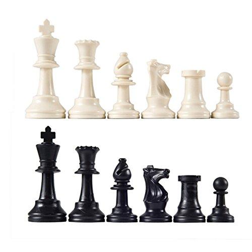 Rurah Chess PiecesTournament Chess Pieces - Black and Cream Plastic Chessmen