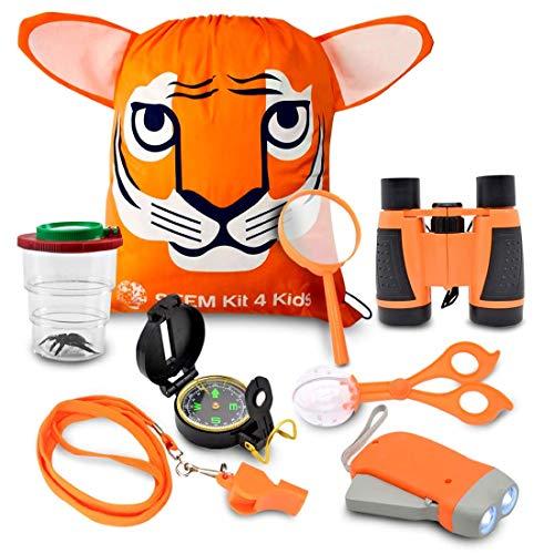 Kids Explorer Kit Bug Catcher Kit for kids Magnifying Glass Binoculars for Kids Kids Camping Kit for Kids Ages 4 a 9 Outdoor Toys by STEMKit4kids