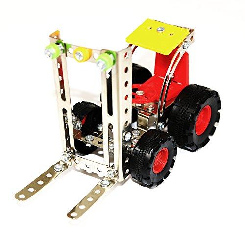 Fun Little Toys 127 pcs 3D Assembly Metal Forklift Vehicles Truck Model Set Toy Car Building Puzzles Construction Play Kits