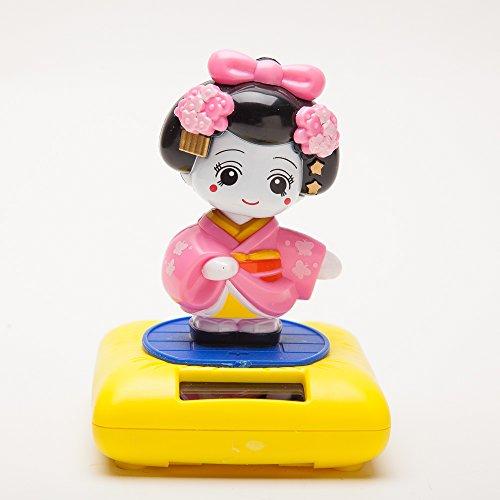 THY COLLECTIBLES Solar Powered Bobblehead Toy Figure Nohohon Japanese Kimono Maiko Geisha - Pink SPT104