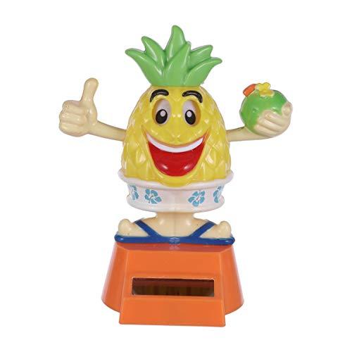 TOYANDONA Bobble Head Toy Solar Powered Bobblehead Pineapple Shape Car Ornament for Auto Truck Dashboard Decoration