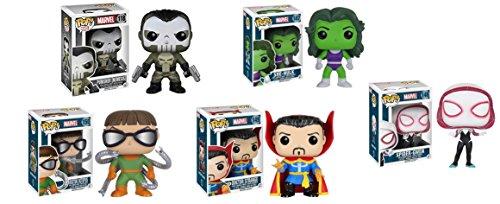 Funko Marvel Bubble-head Pop Set  Punisher Nemesis Spider Gwen Dr Strange Doc Ock She-Hulk 5pc Set