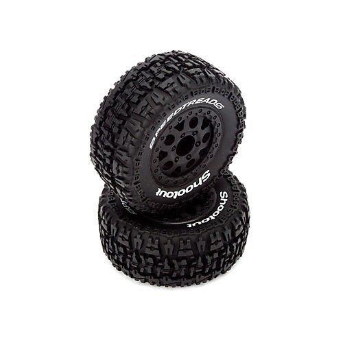 Qiyun Fr RR Torment Tire Premount Blk Wheel ECX4003 Electrix RC