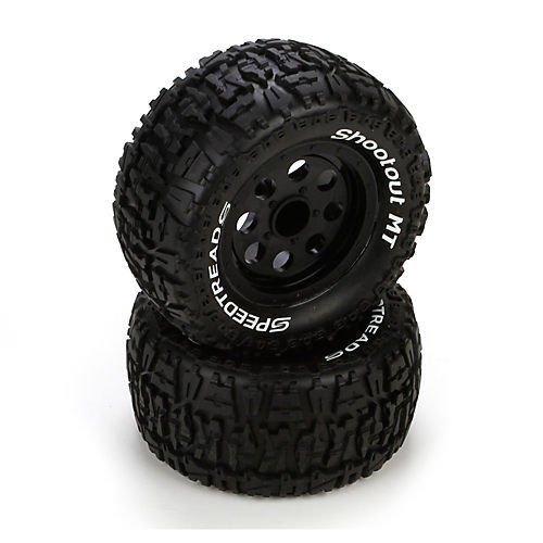 Qiyun Ruckus Tire Premount Front Rear Black Wheel 2 ECX43008 Electrix RC
